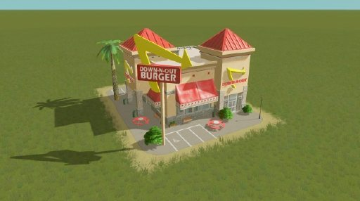"A burger joint called ""Down-N-Out Burger"""