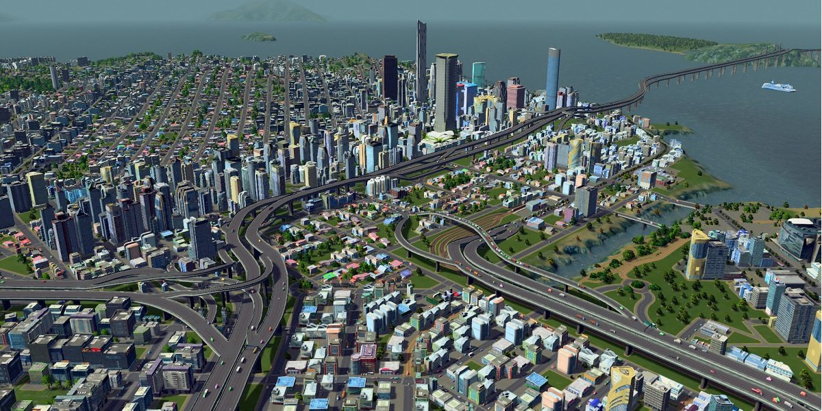 A screenshot of San Francisco as rendered in Cities: Skylines.