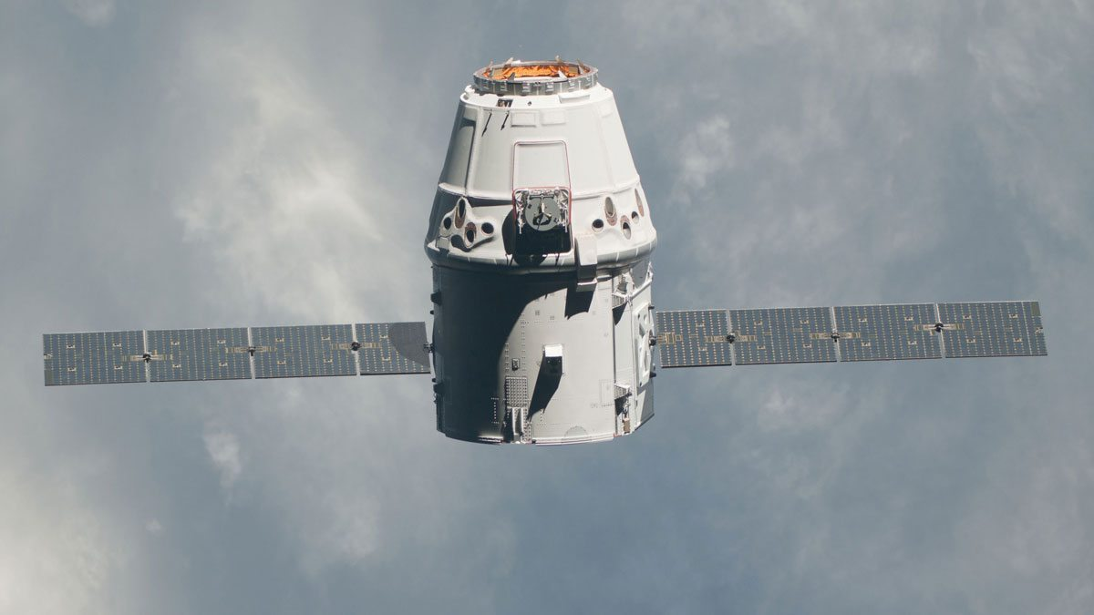 The Dragon capsule as seen from the International Space Station