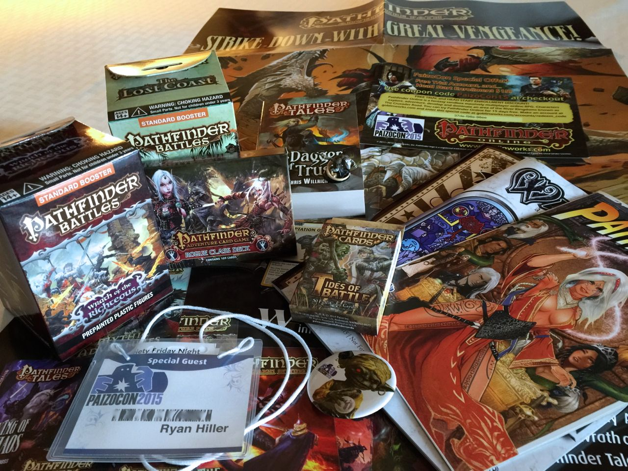 The contents of the PaizoCon swag bag.