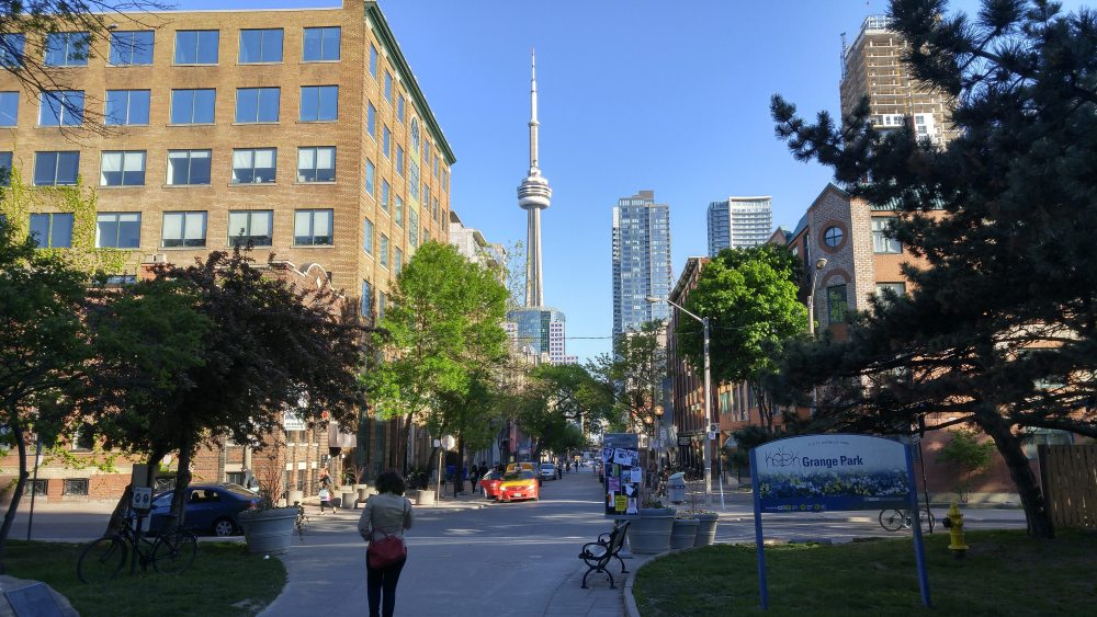 CN Tower as seen from Grange Park in Toronto