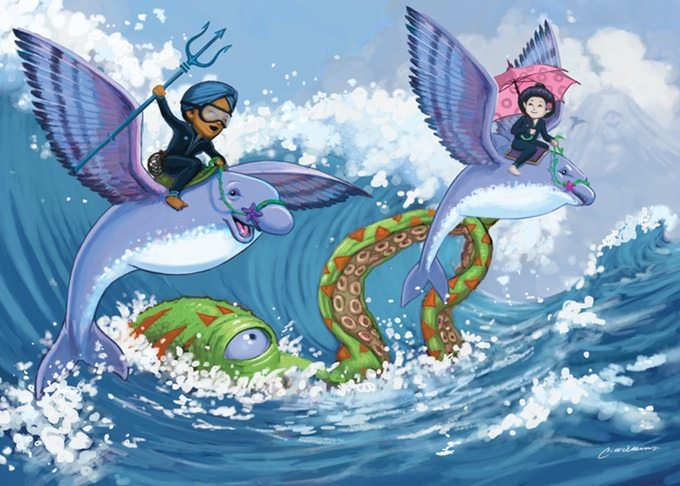 Characters riding flying fish in Storia.