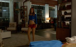 The headband and hot pants were actually parts of Supergirl's costume, but not at the same time.
