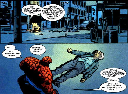 """""""Hear o Israel, HaShem is G-d, HaShem is One"""", in case you were asking. Copyright: Marvel Comics. Via Adherants.com"""