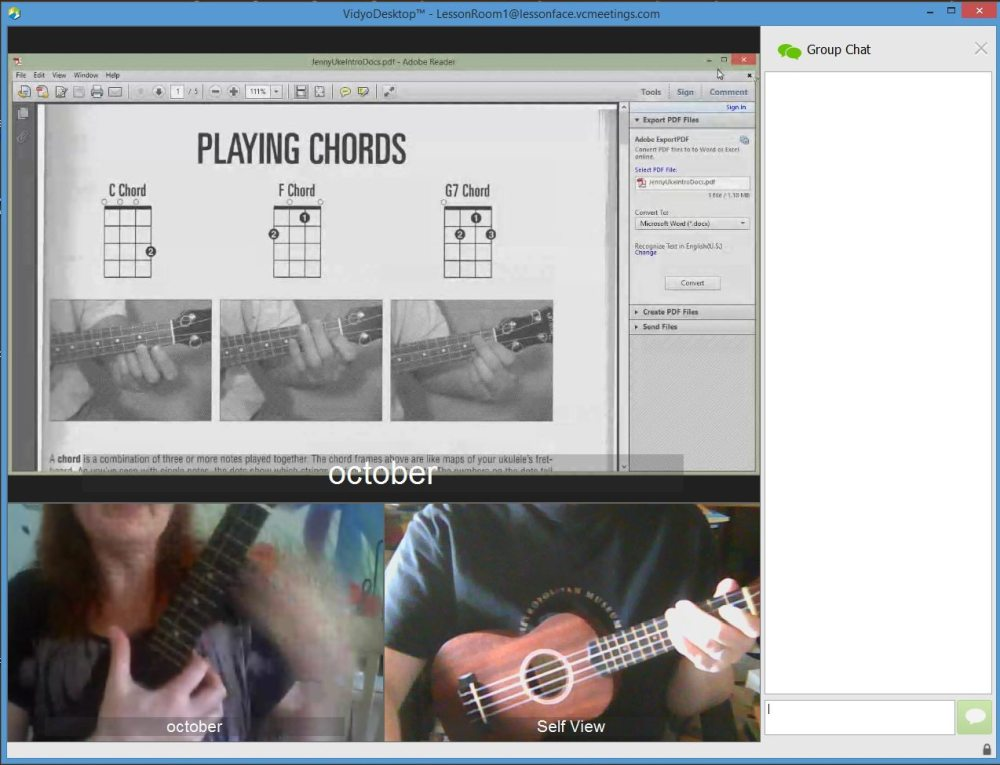 Here, you can see October on the left, me on the right, and the material at the top. Screenshot: Jenny Bristol