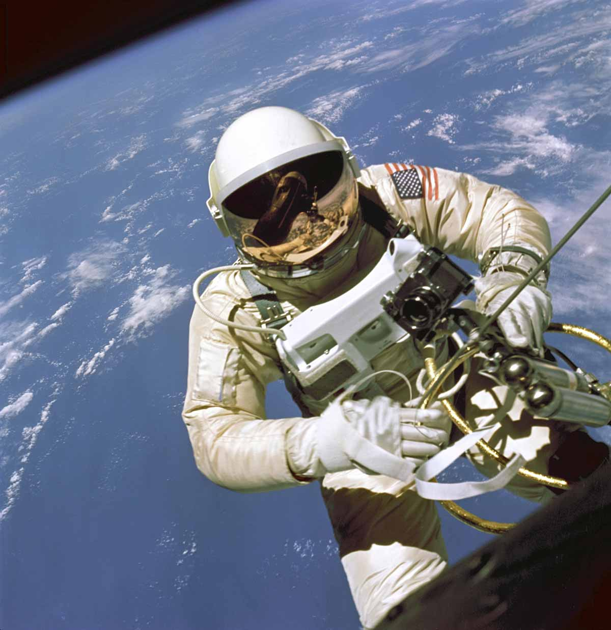 Ed White on his historic spacewalk. Image in the public domain.