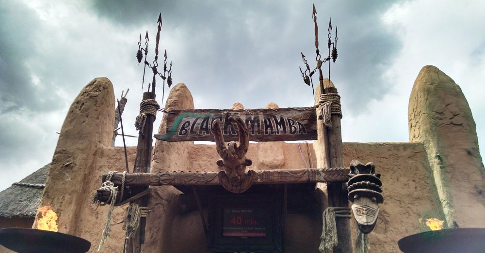 Ominous entrance to Phantasialand's Black Mamba