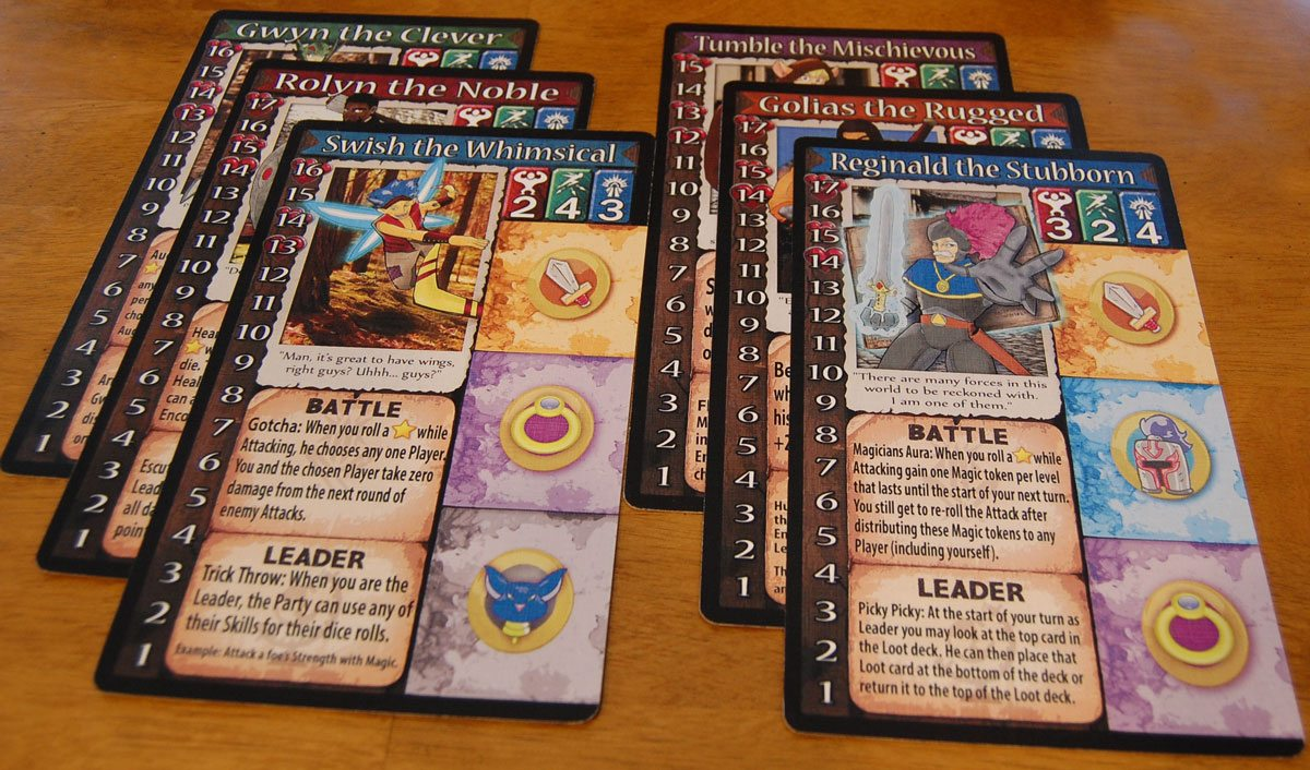 Some of the Random Encounters character cards from the prototype. Artwork subject to change. Image by Rob Huddleston.