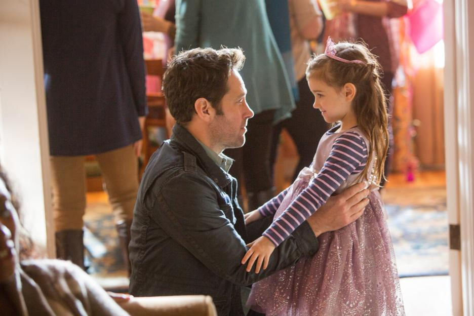 Scott Lang (Paul Rudd) visits his daughter Cassie (Abby Ryder Fortson) at her birthday party. Photo © Disney