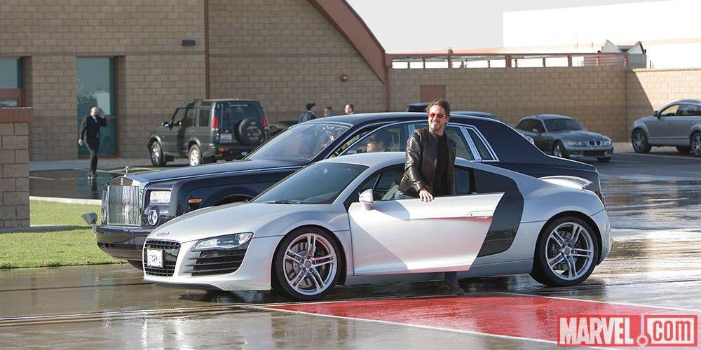 Tony Stark with his Audi