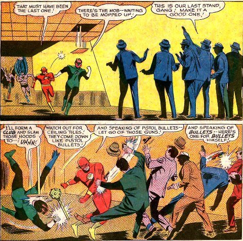 In JLofA and GL, Hal was knocked out by random objects quite a bit. Including an actual random falling ceiling tile. Copyright DC Comics.