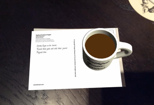 'Storied Myth' AR coffee cup clue
