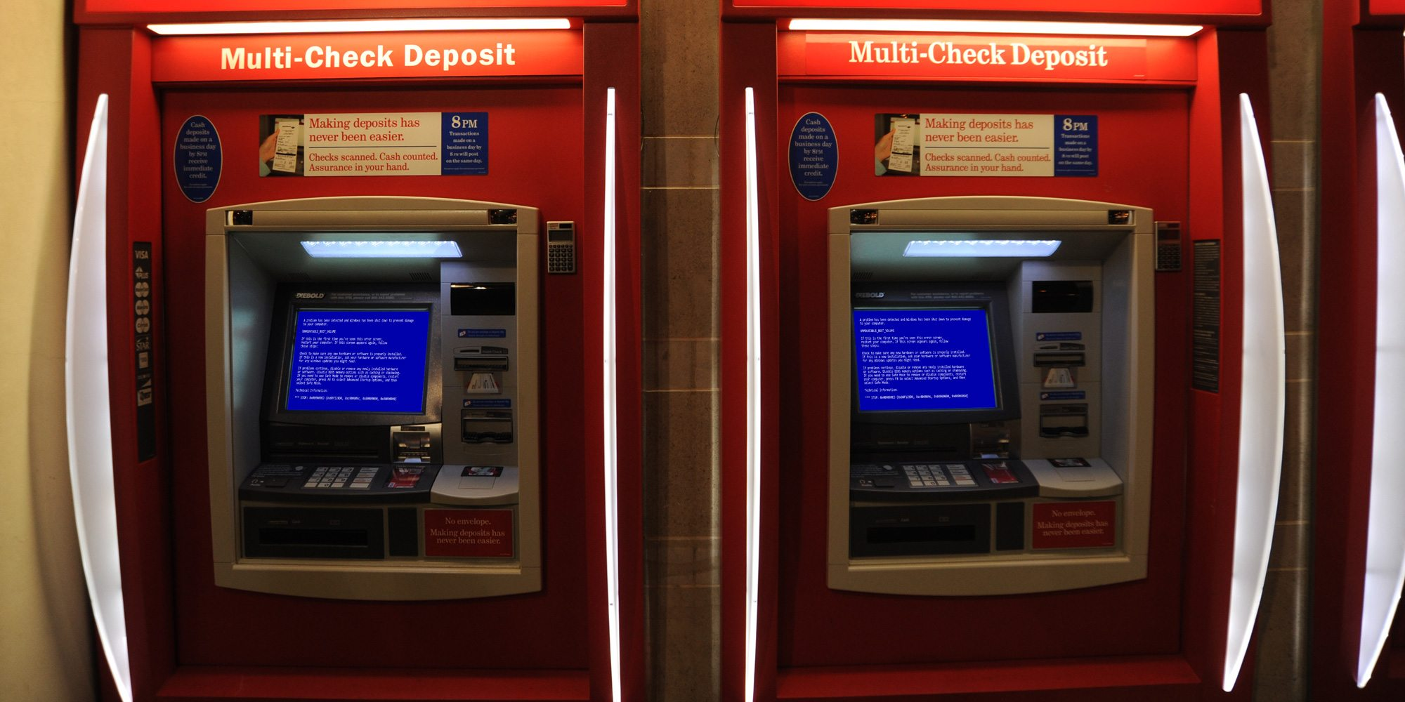 Bank Machine with Blue Screen of Death