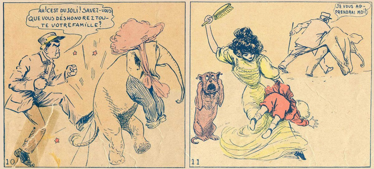 Two panels from a comic showing a man kicking an elephant and a woman spanking a child with a hairbrush.