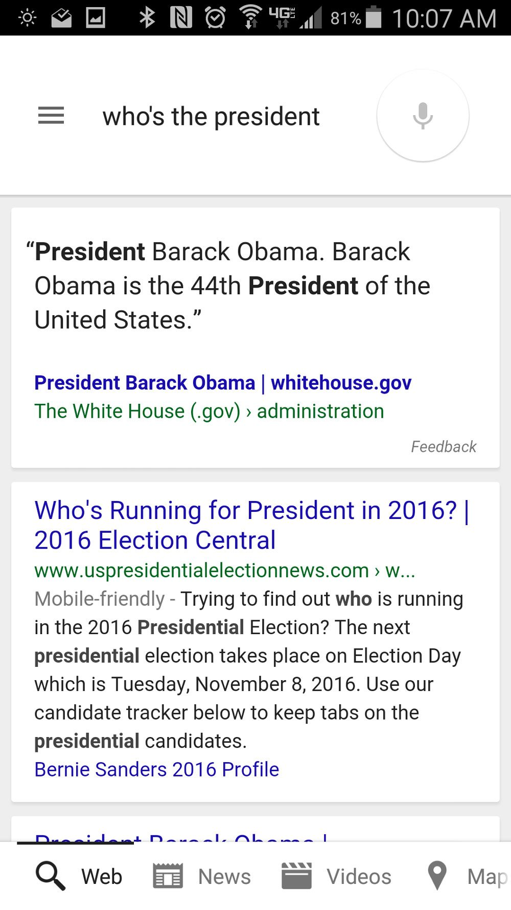 """Google Now's somewhat oddly different answer to """"who's the president?"""""""