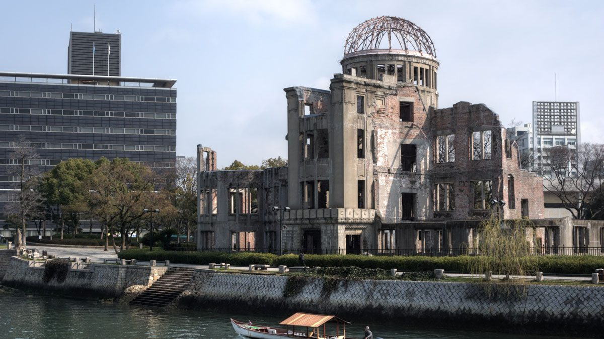 Hiroshima Peace Memorial (Genbaku Dome, UNESCO World Heritage Site) seen froom the the Aioi Bridge. Hiroshima, Hiroshima Prefecture, Japan, 2009. Image courtesy wikimedia.org