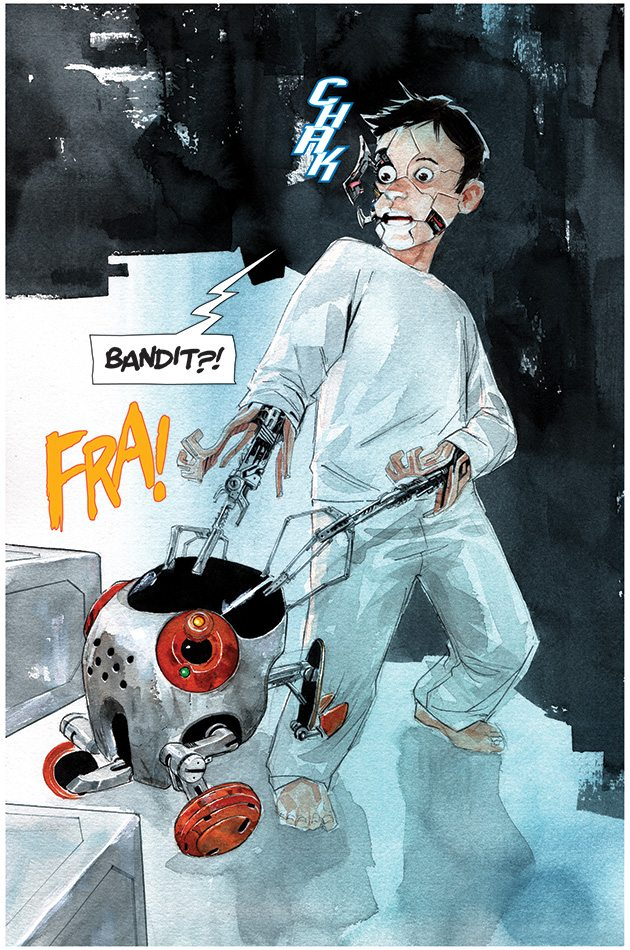 TIM from Descender by Jeff Lemire & Dustin Nguygen, collected edition out today. image via Image Comics
