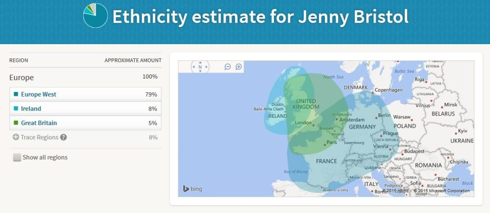 My latest Ancestry DNA results. (The Ancestry DNA folks update their algorithm occasionally.) Screenshot: Jenny Bristol