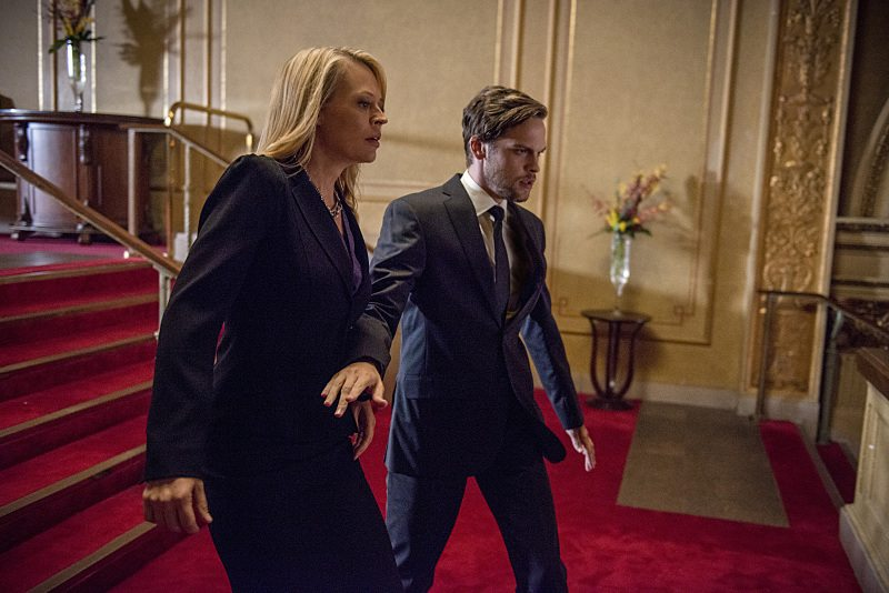 "Arrow -- ""The Candidate"" -- Image AR402B_0273b -- Pictured: Jeri Ryan as Jessica Danforth and Alexander Calvert as Lonnie Machin Photo: Cate Cameron /The CW -- �© 2015 The CW Network, LLC. All Rights Reserved."