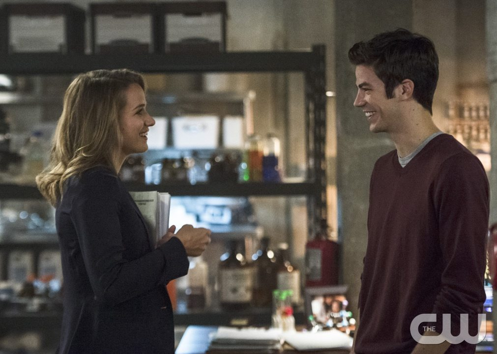 """The Flash -- """"The Fury of Firestorm"""" -- Image FLA204A_0007b -- Pictured (L-R): Shantel VanSanten as Patty Spivot and Grant Gustin as Barry Allen -- Photo: Cate Cameron /The CW -- �© 2015 The CW Network, LLC. All rights reserved."""