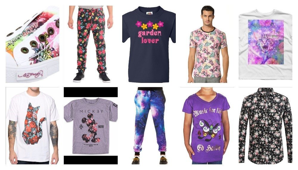 Left to right images by: Ed Hardy, Victorious, Inktastic, SSLR, Design by Humans, A-Lab, Neff, Elwood, Ed Hardy, and SSLR