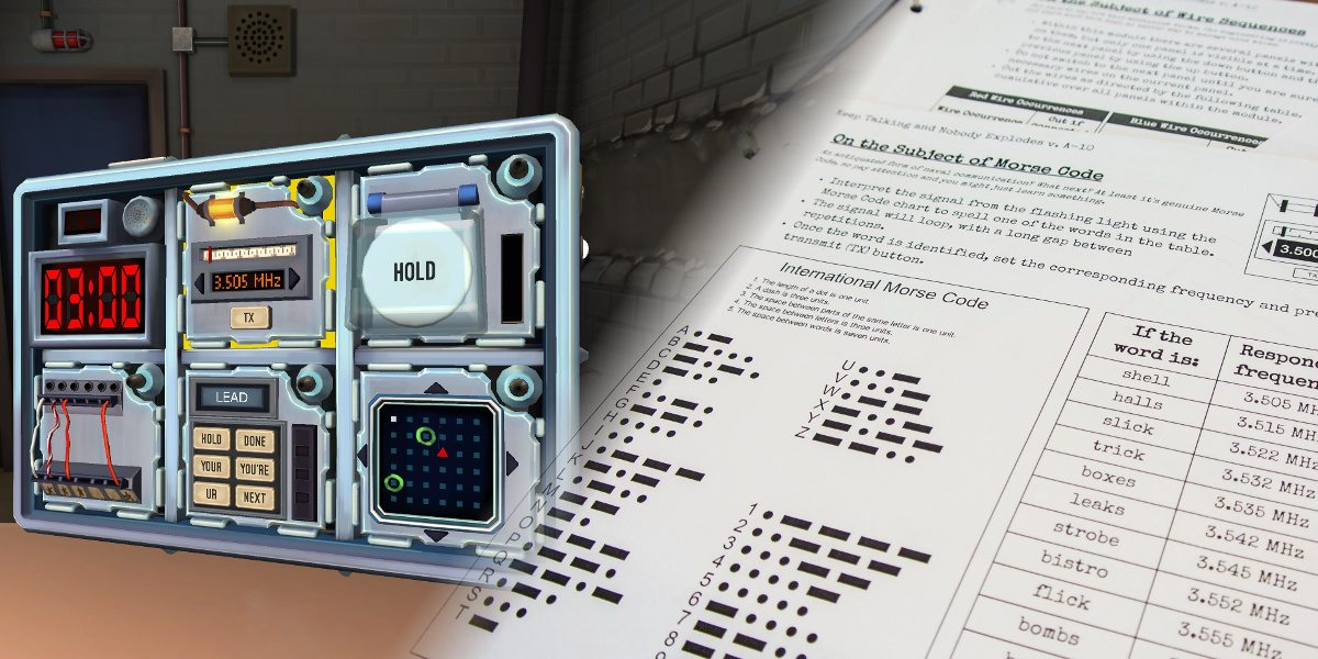 A bomb in a briefcase with multiple dials, buttons and lights on the left side with a picture of the disarming instructions on the right.