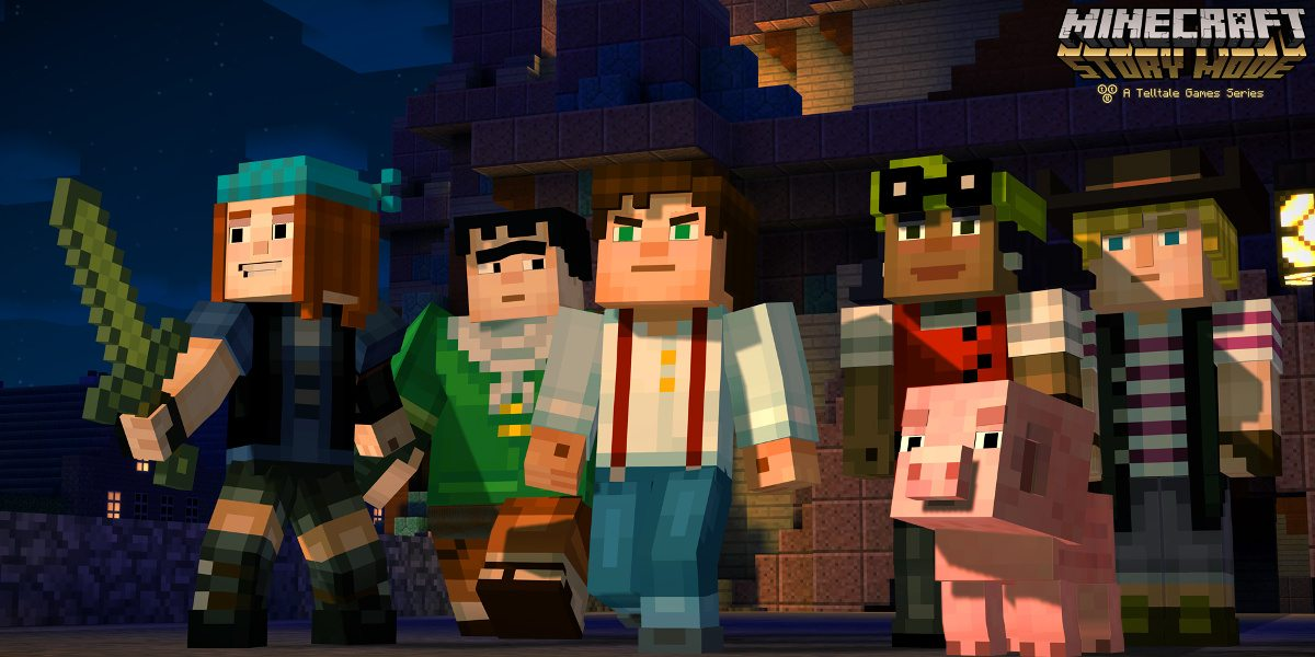 5 characters and a pig from Minecraft set out from a temple, looks of eagerness and determination on their faces.