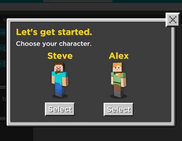 You can choose to play as the familiar Steve or Alex characters from Minecraft.