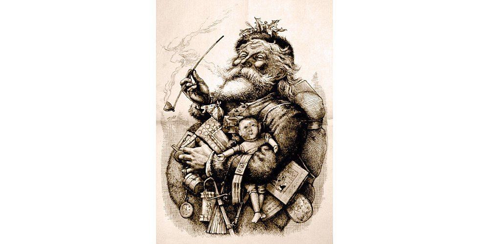 MerryOldSanta, 1881 illustration by Thomas Nast. Image: Public Domain