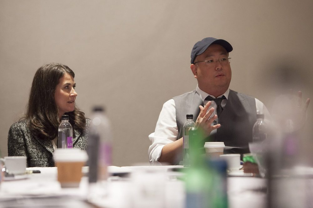 Producer Denise Ream and Director Peter Sohn attend the The Good Dinosaur Press Day in Los Angeles on November 15, 2015. Photo by Patrick Wymore. ©2015 Disney•Pixar. All Rights Reserved.