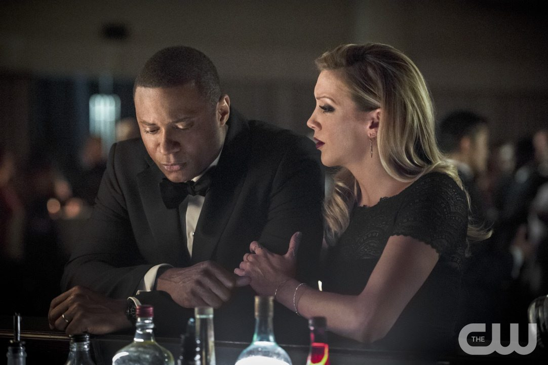 """Arrow -- """"Brotherhood"""" -- Image AR407B_172b.jpg -- Pictured: David Ramsey as John Diggle and Katie Cassidy as Laurel Lance -- Photo: Cate Cameron/The CW -- �© 2015 The CW Network, LLC. All Rights Reserved."""