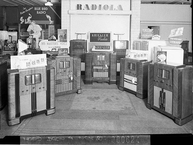 A selection of radios for sale in Sydney, Australia, in 1938. (From the Collection of the State Library of New South Wales. No known copyright restrictions).
