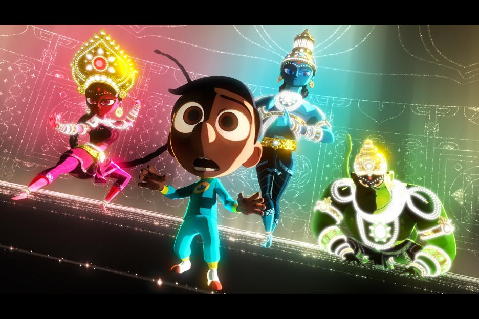 Durga, Vishnu and Hanuman stand with young Sanjay in 'Sanjay's Super Team'. © 2015 Disney-Pixar