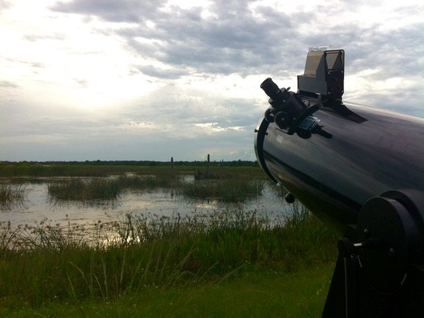 """My 10"""" Orion Dobsonian peering sadly into cloudy skies - Photo By Skip Owens"""