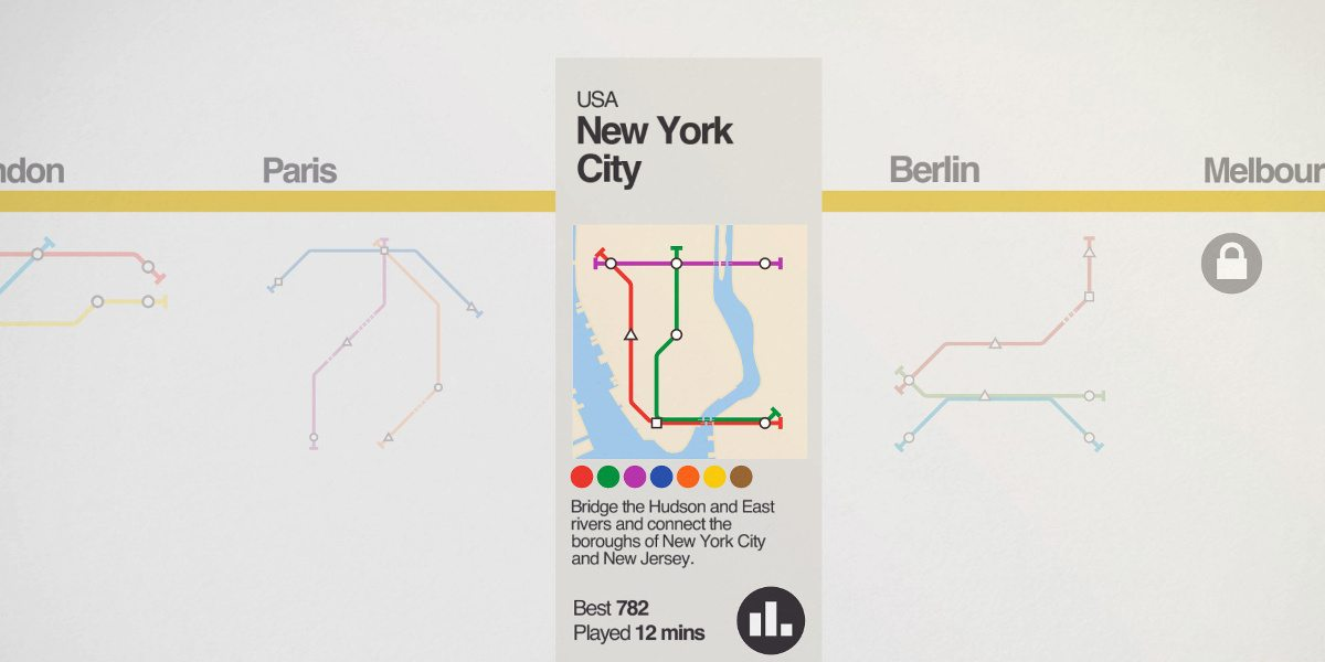 Level selection screen with New York City highlighted.