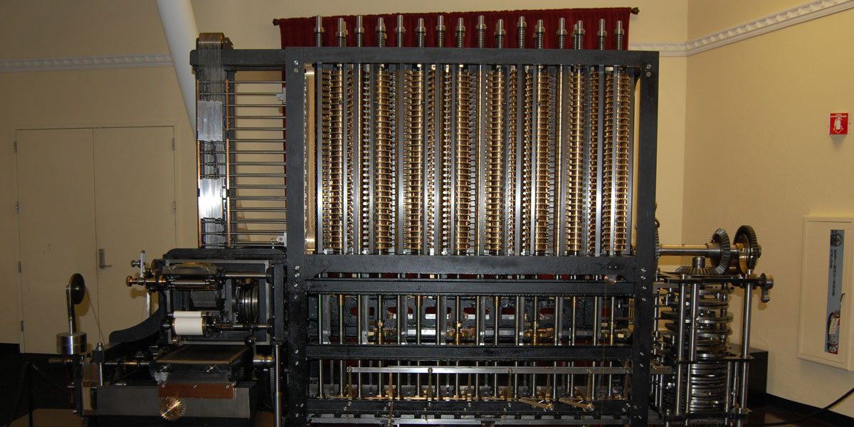A modern reproduction of the Babbage Analytical Engine at the Computer History Museum. Photo by Rob Huddleston.