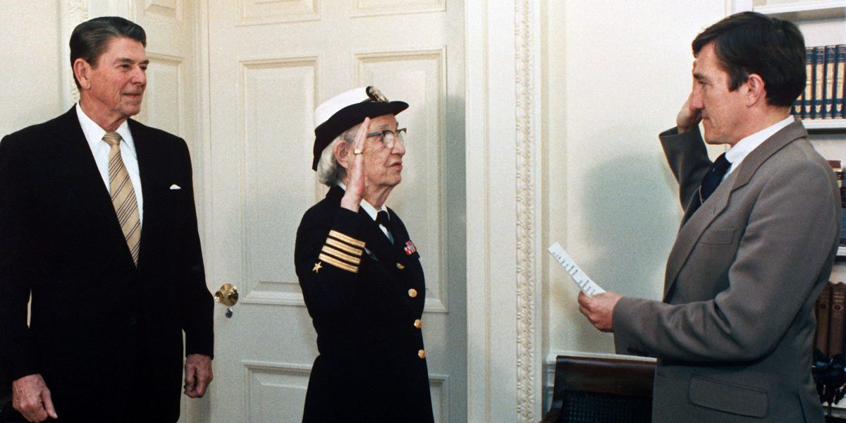 Grace Hopper on her promotion to Commodore. Image by Pete Souza [Public domain], via Wikimedia Commons
