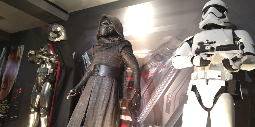 Captain Phasma, Kylo Ren, and Stormtrooper prop replicas
