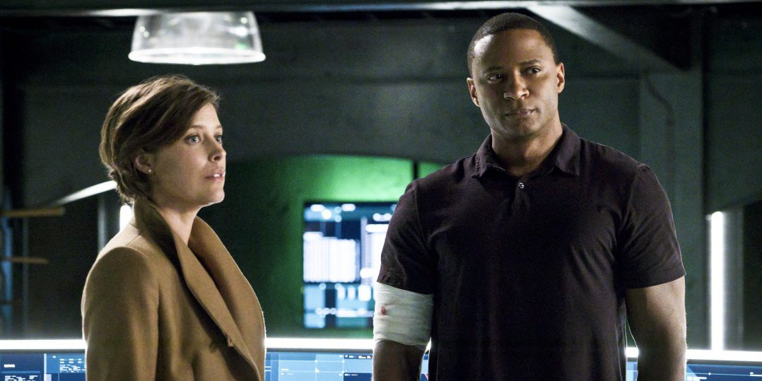 """Arrow -- """"A.W.O.L."""" -- Image AR411A_0173b.jpg -- Pictured (L-R): Audrey Marie Anderson as Lyla Michaels and David Ramsey as John Diggle -- Photo: Liane Hentscher/ The CW -- �© 2016 The CW Network, LLC. All Rights Reserved."""