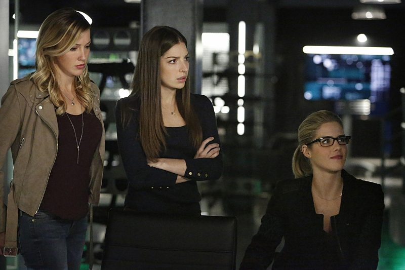 """Arrow -- """"Taken"""" -- Image AR415b_0205.jpg -- Pictured (L-R): Katie Cassidy as Laurel Lance/Black Canary, Anna Hopkins as Samantha, and Emily Bett Rickards as Felicity Smoak -- Photo: Bettina Strauss/ The CW -- �© 2016 The CW Network, LLC. All Rights Reserved."""