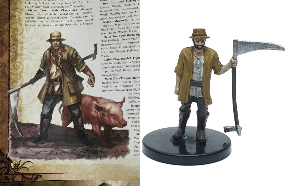 Many of the figures are based off of the existing 'Pathfinder' art. The farmer from 'The Rusty Dragon Inn' is from the Core Rulebook. Image by Ryan Hiller.