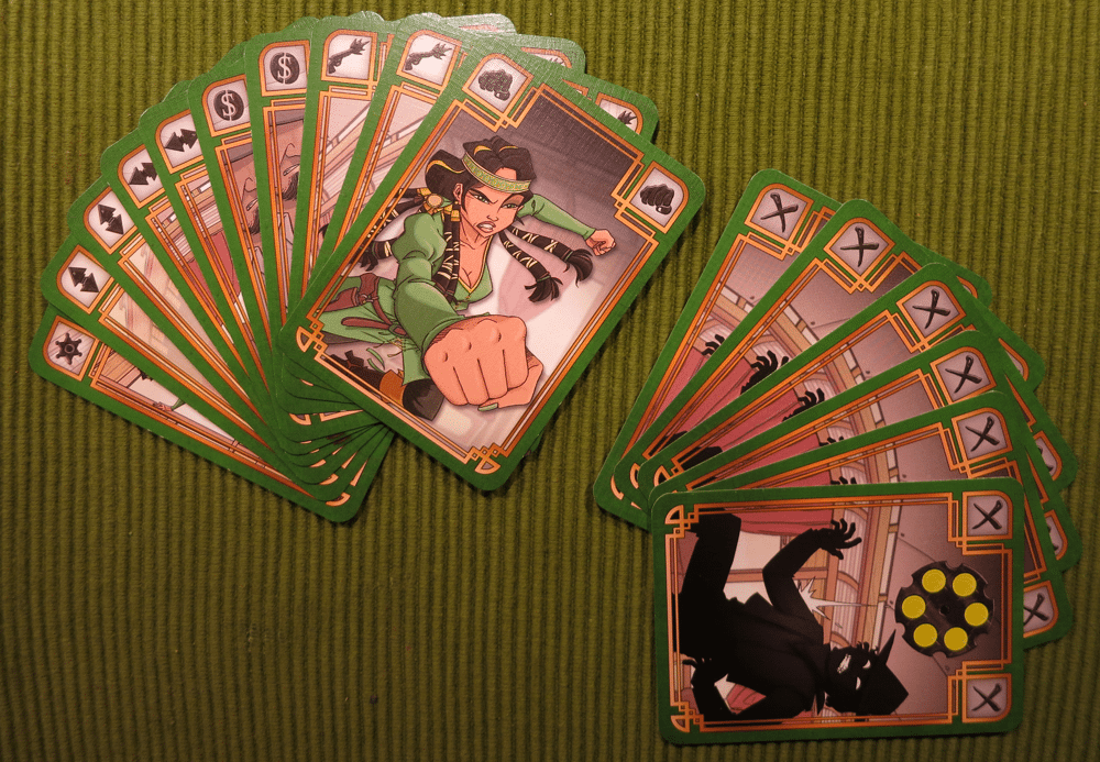 "Action cards (left) and bullet cards (rights) of ""Cheyenne""."