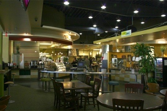 The Chandler Cafe at CalTech is a whole lot nicer than the cafeteria on the show.