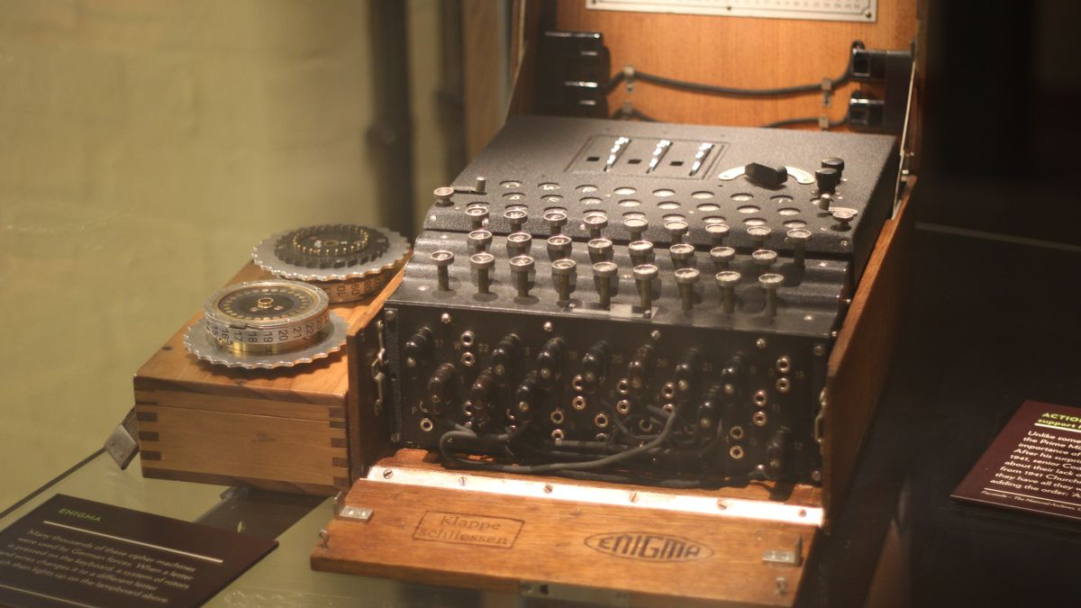 An Enigma machine at Bletchley Park
