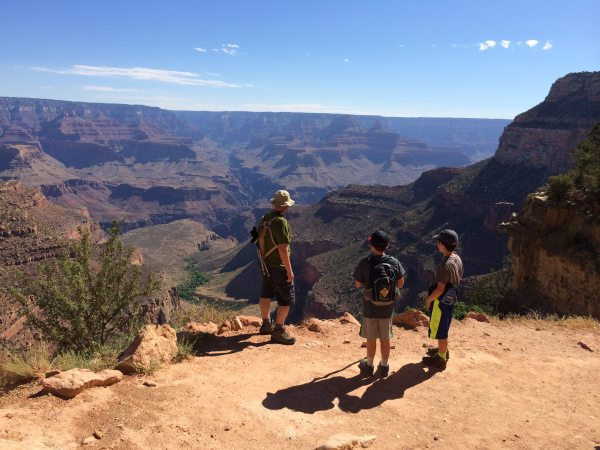 One of my favorite photos of my boys. Grand Canyon view from the Bright Angel Trail, July 2014. Image credit: Patricia Vollmer.