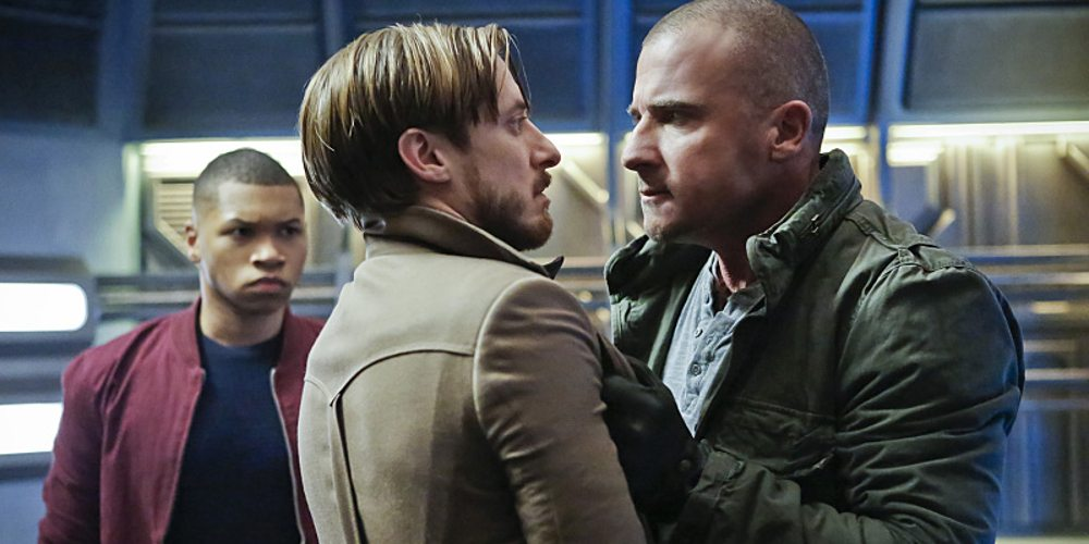 """DC's Legends of Tomorrow -- """"Marooned"""" -- Image LGN107B_0176b.jpg -- Pictured (L-R): Franz Drameh as Jefferson """"Jax"""" Jackson, Arthur Darvill as Rip Hunter, and Dominic Purcell as Mick Rory / Heat Wave -- Photo: Bettina Strauss/The CW -- �© 2016 The CW Network, LLC. All Rights Reserved."""