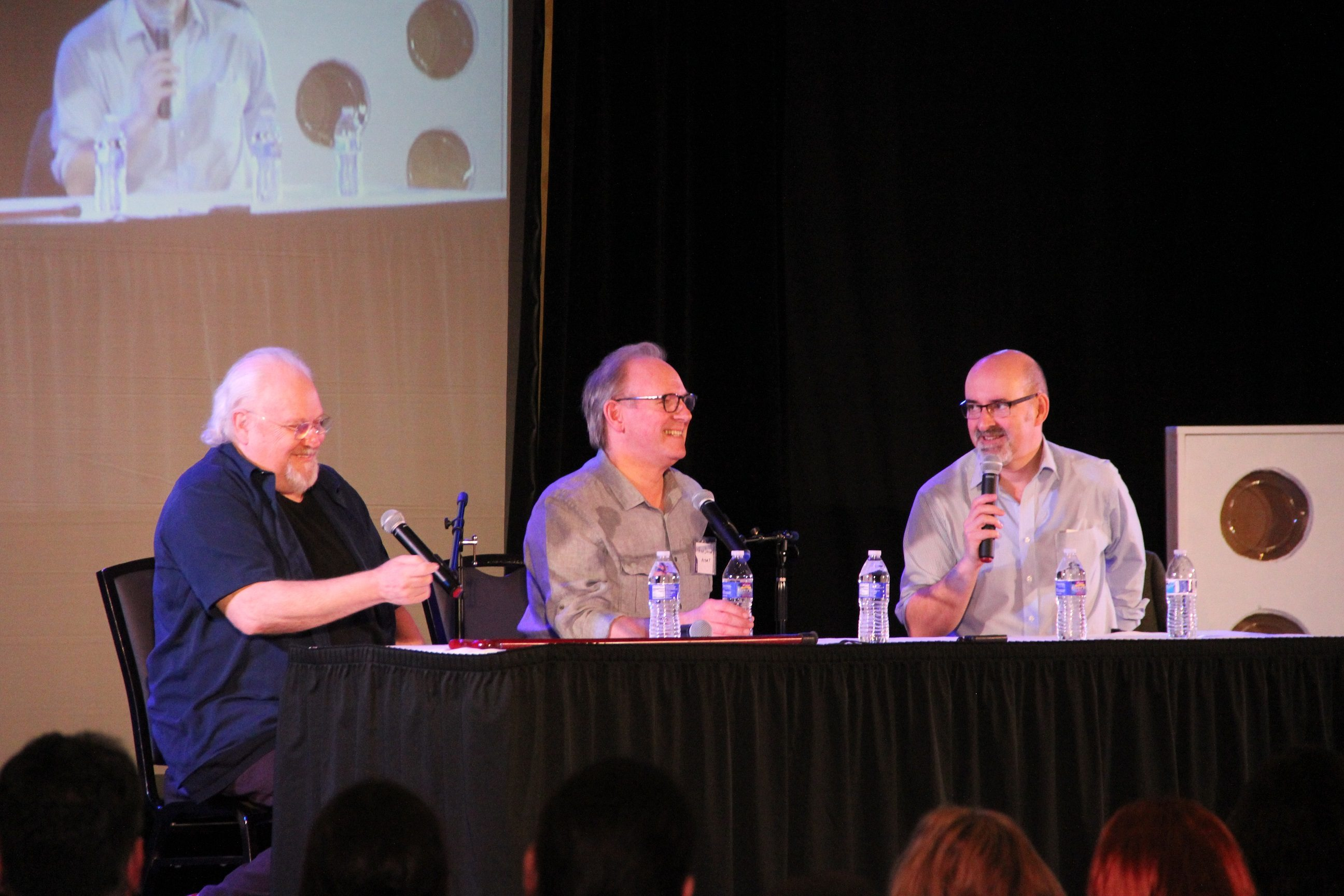 Colin Baker and Peter Davison in conversation with Nick Briggs