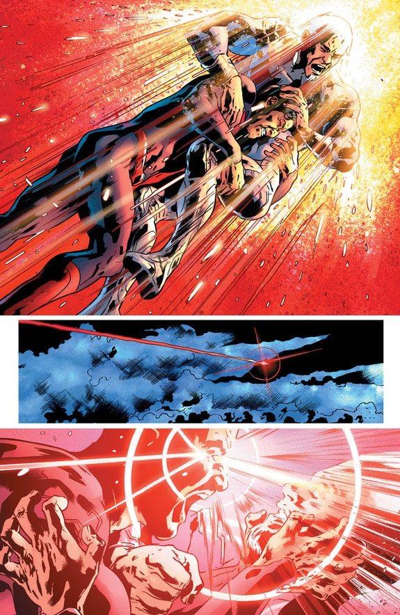 Superman and Rao throw down. copyright DC Comics