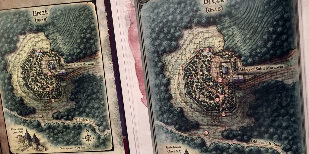Maps of Krezk. On the left, included removable map. On the right, the book's copy.