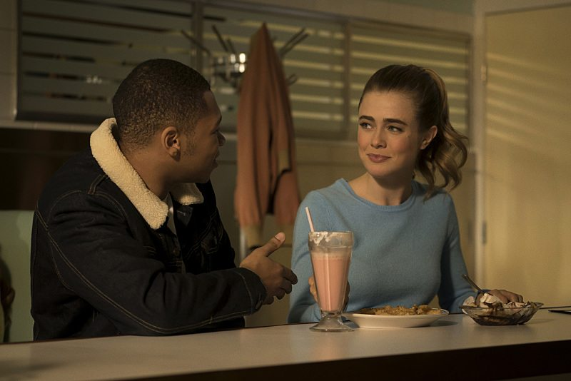 """DC's Legends of Tomorrow -- """"Night of the Hawk"""" -- Image LGN108b_0116.jpg -- Pictured (L-R): Franz Drameh as Jefferson """"Jax"""" Jackson and Melissa Roxburgh as Betty-- Photo: Katie Yu/The CW -- �© 2016 The CW Network, LLC. All Rights Reserved"""